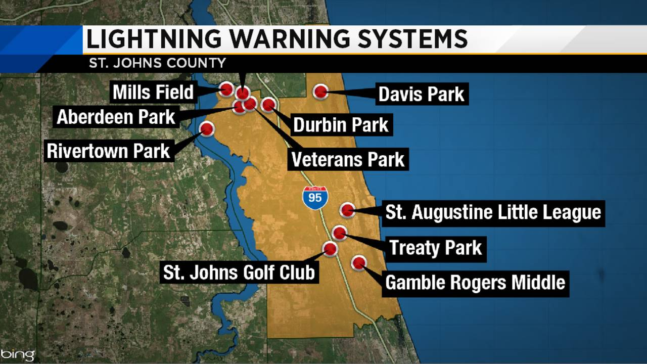 St. Johns County lightning warning systems map