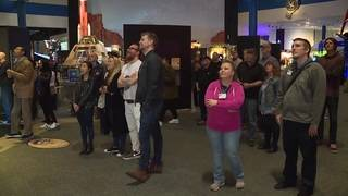 Space Center of Houston visitors gather to watch SpaceX Falcon Heavy launch
