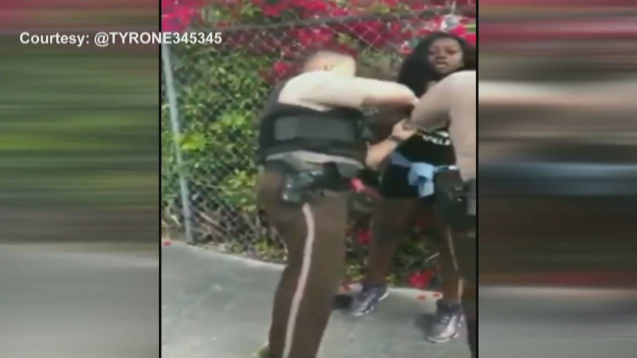 Video still of rough arrest from March 5