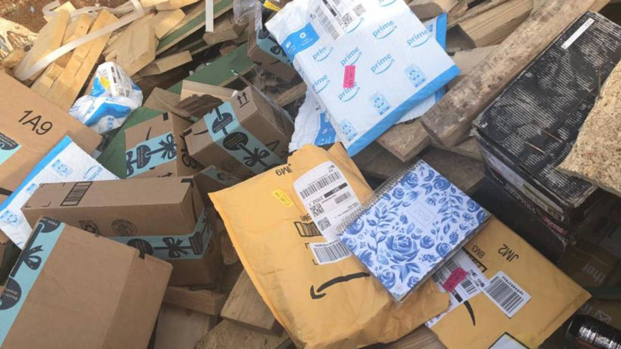 Amazon packages in dumpster 2