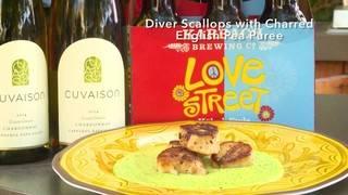 H-E-B Backyard Kitchen: Diver Scallops with Charred English Pea Purée