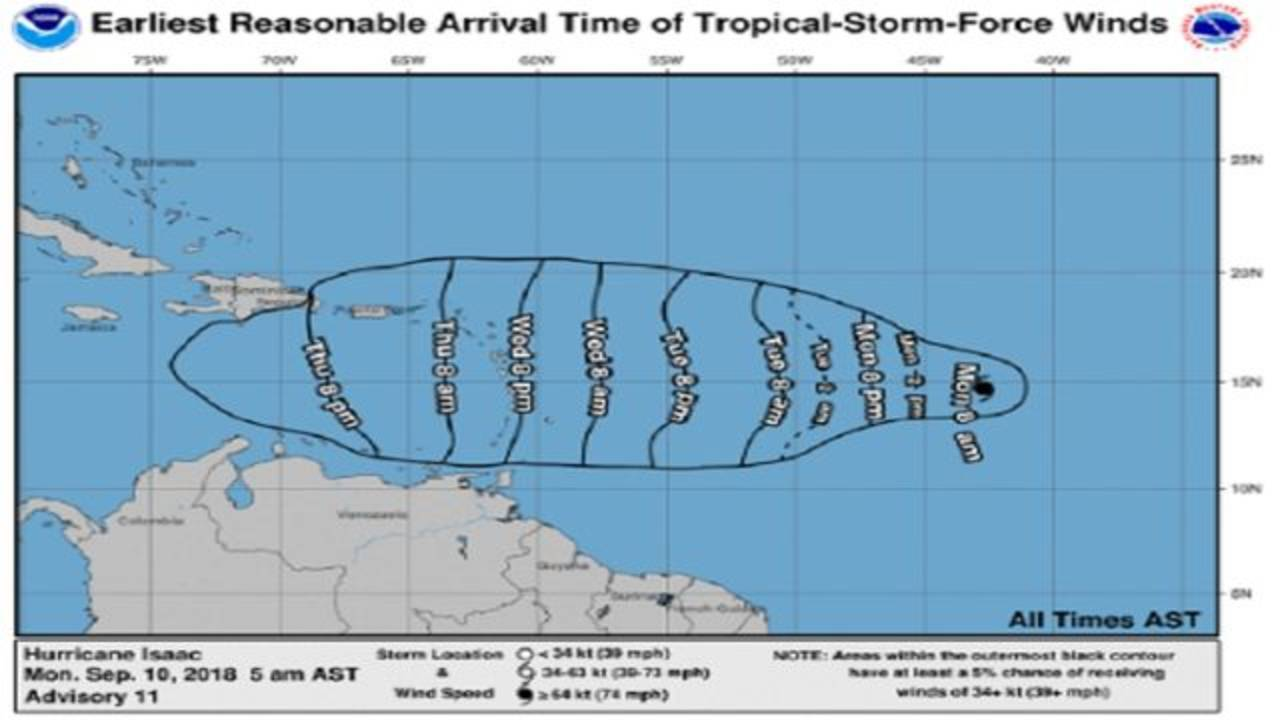 Isaac arrival time estimate