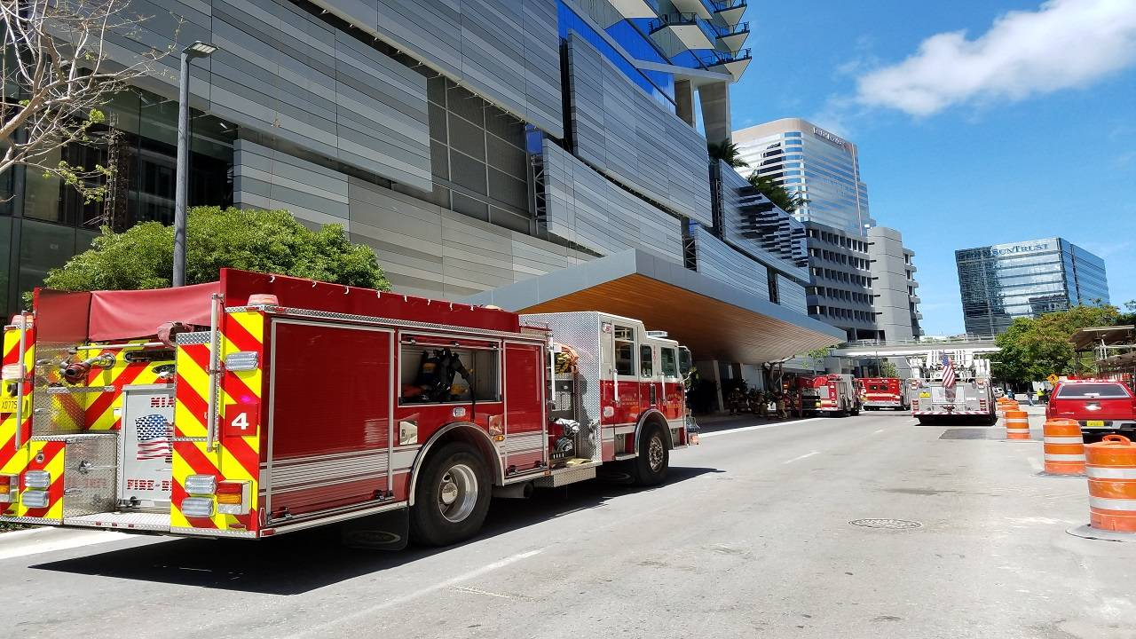 Miami Fire Rescue truck outside East Tower
