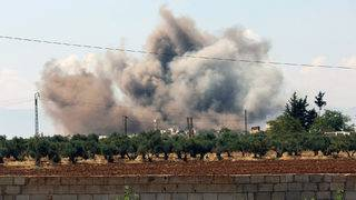 Airstrikes hit Syria's Idlib province, the last remaining rebel stronghold