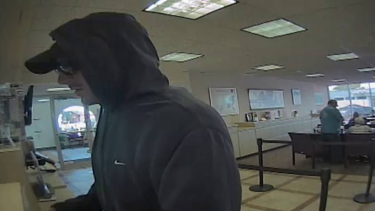 Bank robber speaking to teller in Hollywood