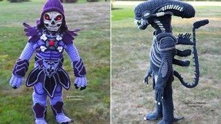 Mom Crochets Life-Like 'Alien' and Skeletor Halloween Costumes…