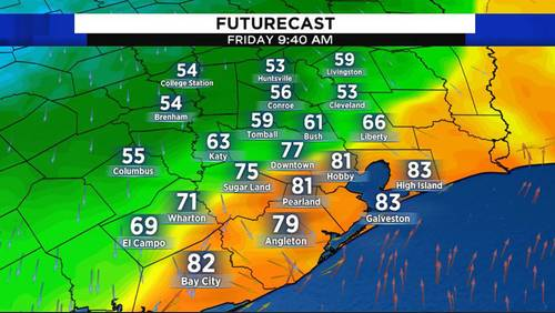 Rain, big temperature change forecast Friday in Houston