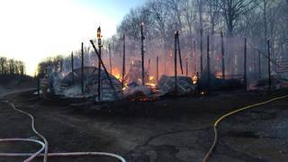 Evening fire threatens diesel and propane tanks