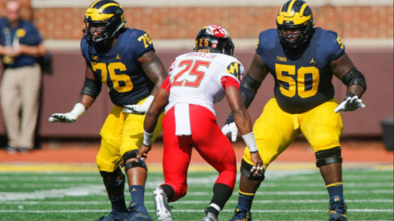 Michael Onwenu Michigan football vs Maryland 2018