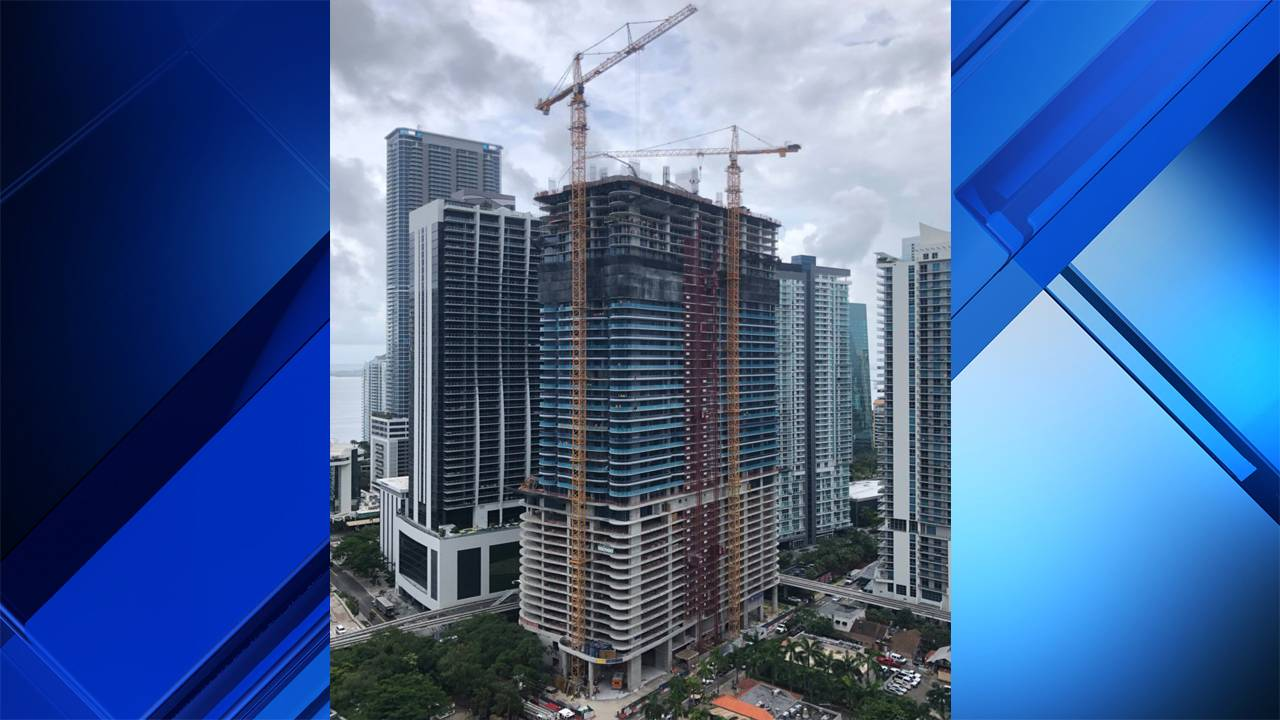 Longshot of Brickell building where worker struck in head