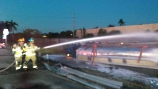 Gas tanker crash on I-95 blocks lanes, affects Tri-Rail