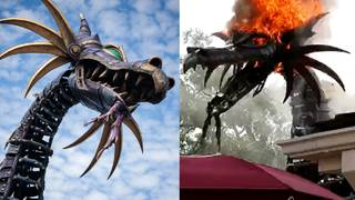Disney dragon float makes return debut after catching fire