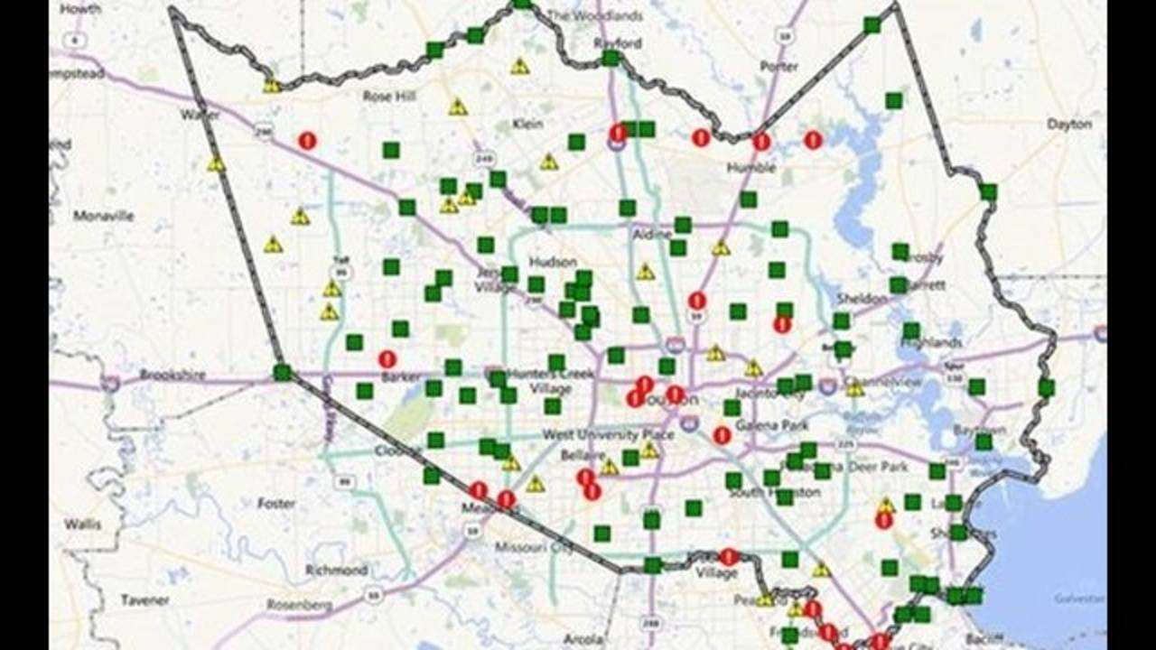 Harris County Flood Warning System Map