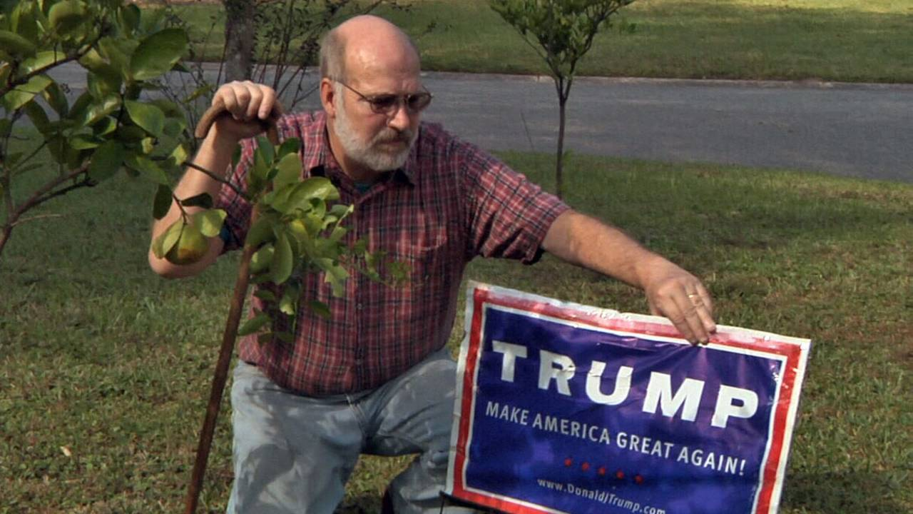 Robert Ellison with Trump sign