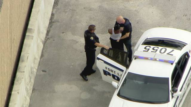 Hollywood chase suspect being placed in police car