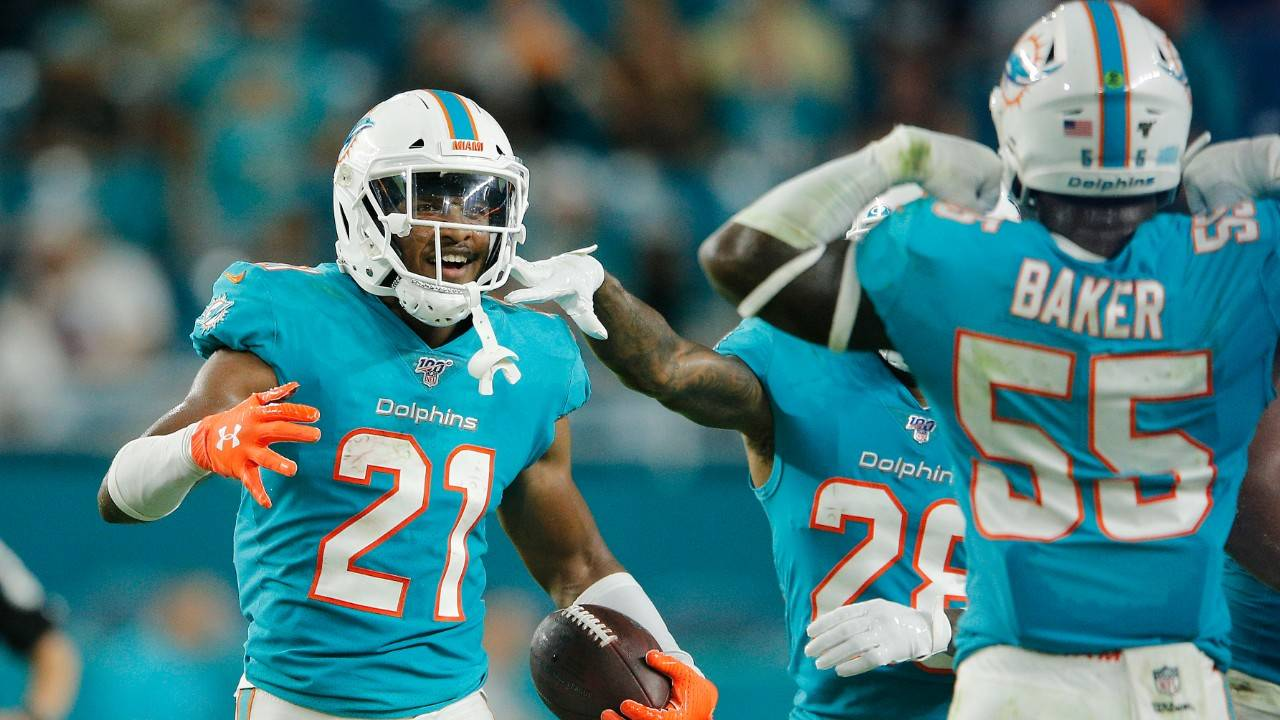 Miami Dolphins cornerback Eric Rowe celebrates after interception vs. Jacksonville Jaguars in 2019 preseason