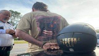 Catch him if you can: Accused motorcycle thief's helmet makes for ironic arrest