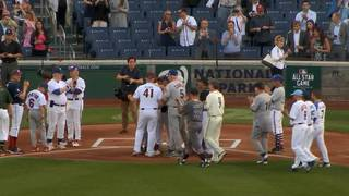 Scalise records first out in return to charity game