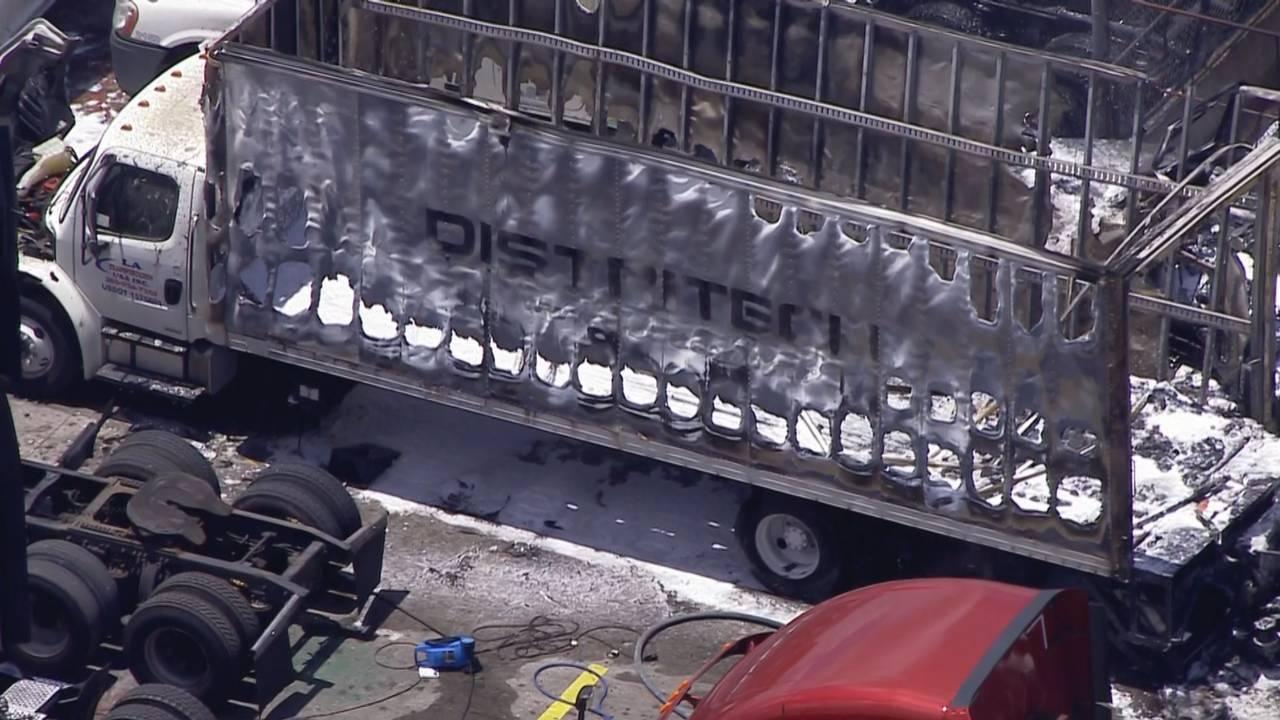 Scorched semi truck in Hialeah