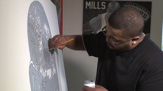 artist hoping to help nonprofits with tim duncan painting
