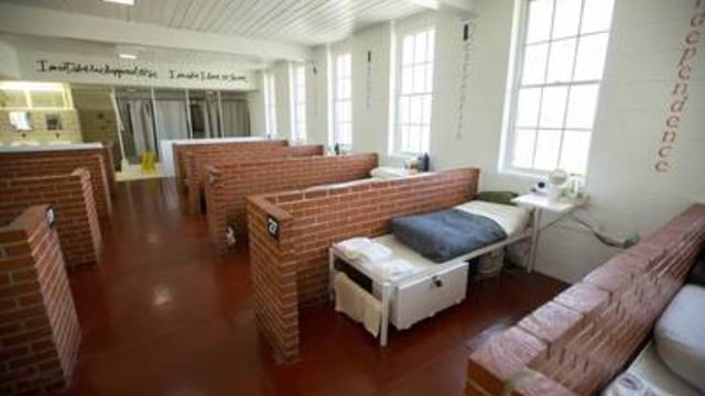 Living area for students in the STRIVE Reentry program inside Mountain View prison in Gatesville on Sept. 19, 2019.