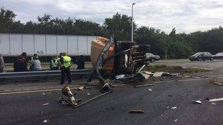 Southbound turnpike reopens after crash involving bus, semitruck