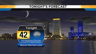 Mostly cloudy skies keep overnight temperatures in low 40s