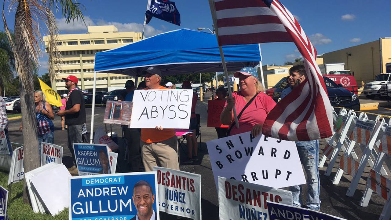 Protesters at Broward County Elections Headquarters