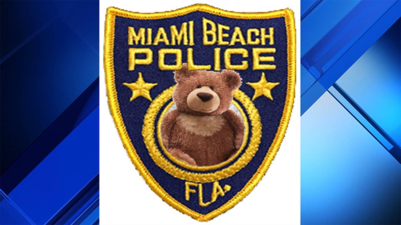 Miami Beach police badge with teddy bear