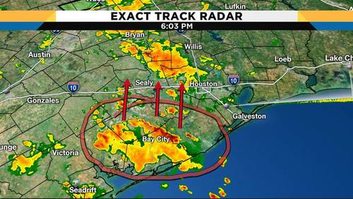 Waves of heavy rain drift from Gulf Coast into western counties