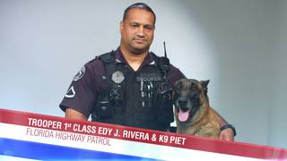 Trooper Edy Rivera and his K-9 Piet of the Florida Highway Patrol