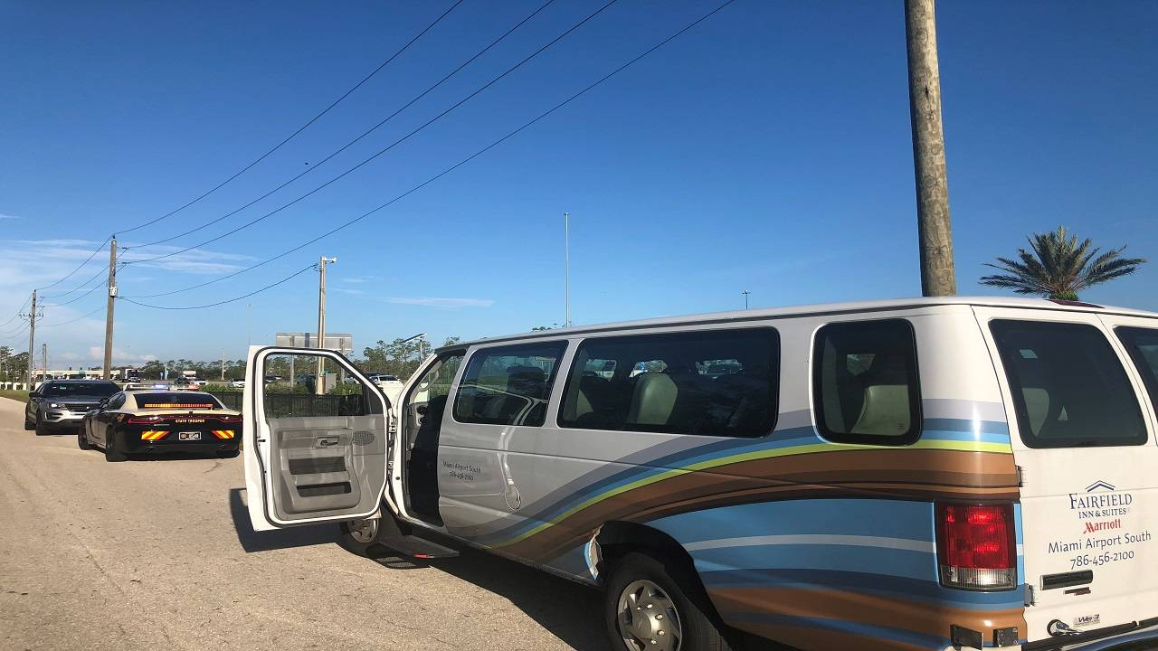 stolen airport shuttle van
