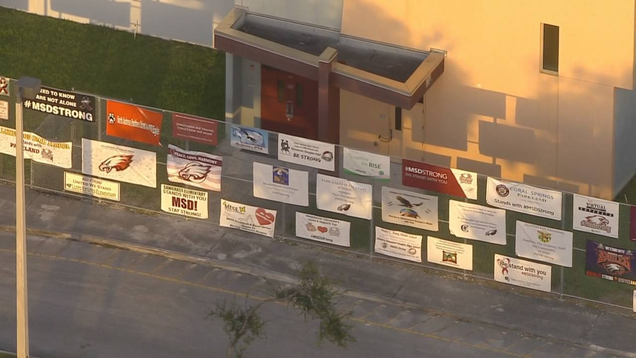 Sky 10 above building that remains padlocked at Marjory Stoneman Douglas High School on first day of 2018-19 school year