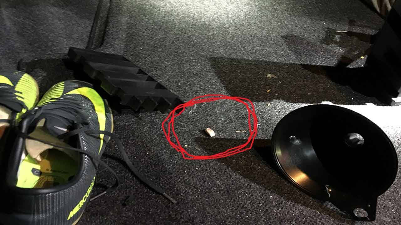 Projectile fragment in trunk of car after Palmetto Expressway shootout