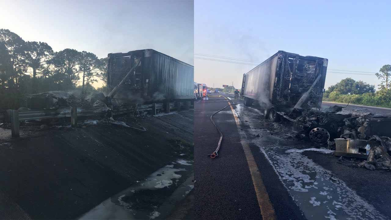 I-95 north near Titusville reopens after semi-truck crash, fire