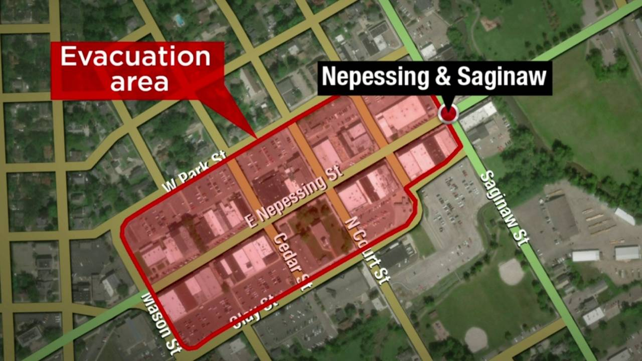 Downtown Lapeer evacuated map