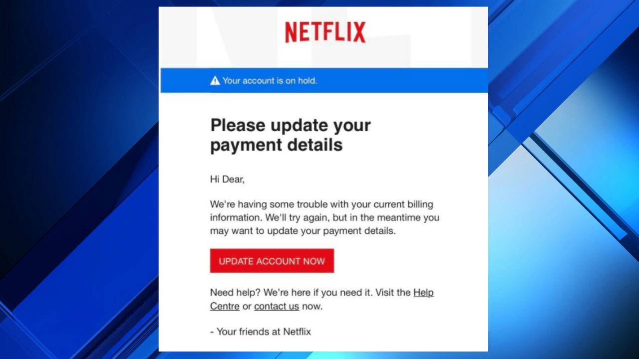 netflix account on hold email