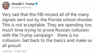 Sanders says Trump wasn't blaming Florida shooting on FBI Russia investigation