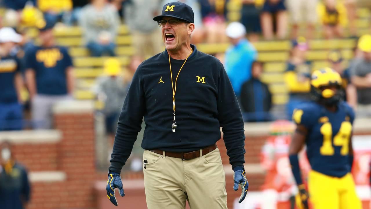 Jim Harbaugh yells Michigan football vs Western Michigan 2018