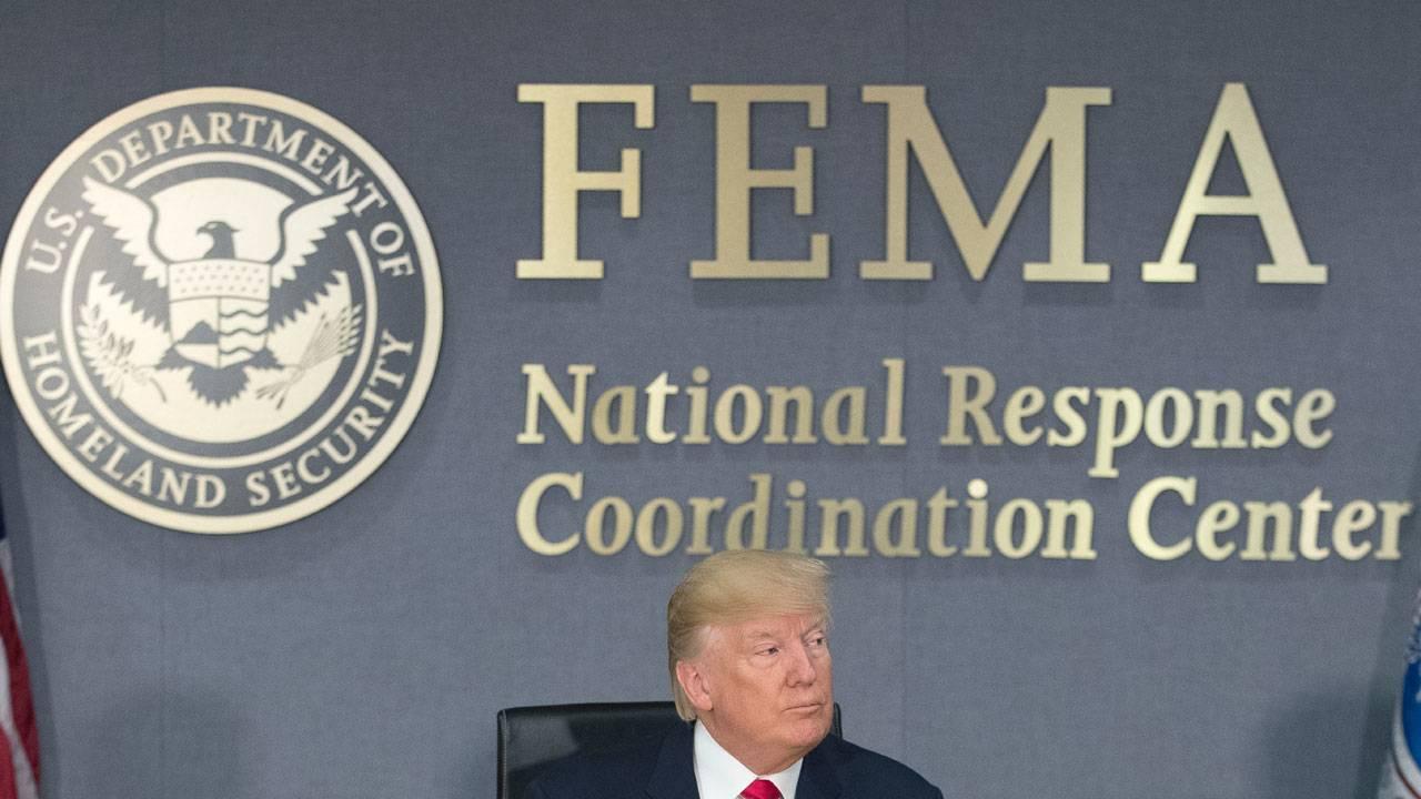 Donald Trump at FEMA headquarters
