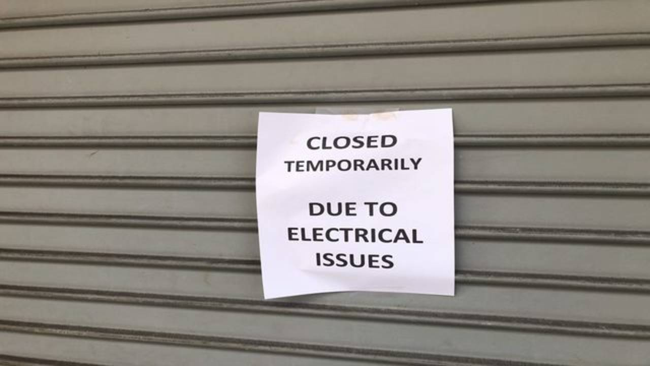 Closed due to electrical problems sign
