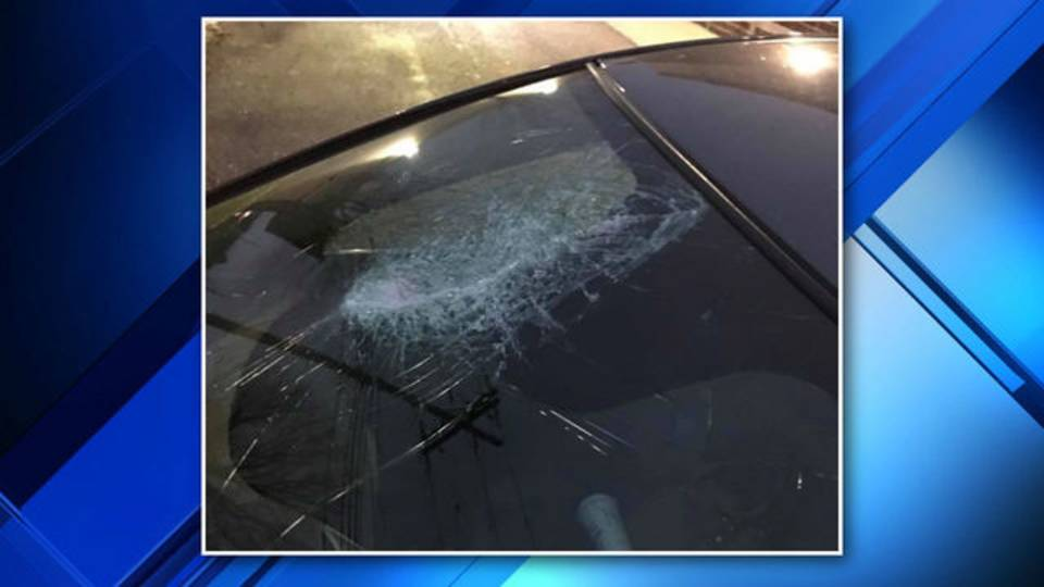 Windshield smashed by road debris on I-696