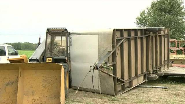 Tuscola County Kingston tornado trailer turned over