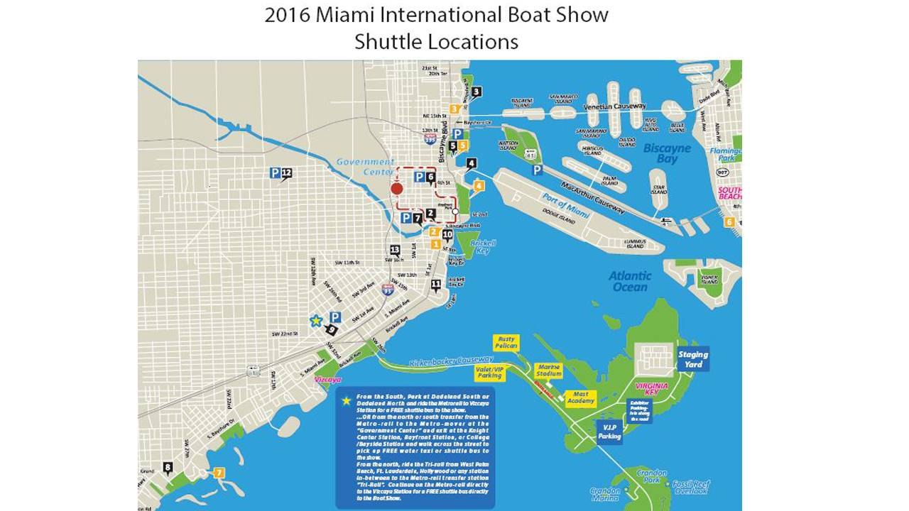 2016 Miami International Boat Show Shuttle Locations