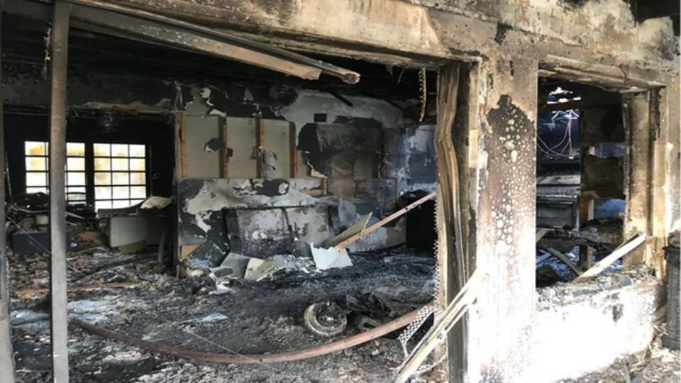 Charred interior or SW Miami-Dade home