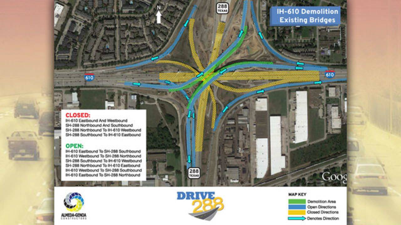 Highway 288 construction map for August 8-13-18