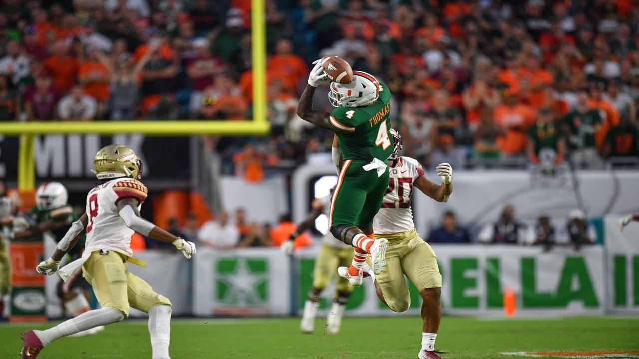 Miami Hurricanes wide receiver Jeff Thomas catch vs Florida State Seminoles in 2018
