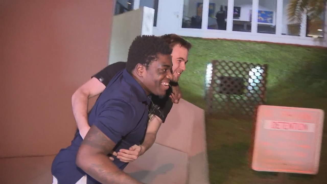 Kodak Black hugs man after walking out of jail