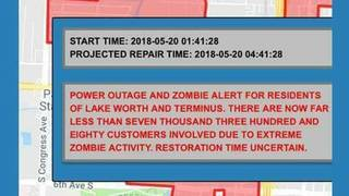 South Florida town sends out alert about power outages -- and zombies