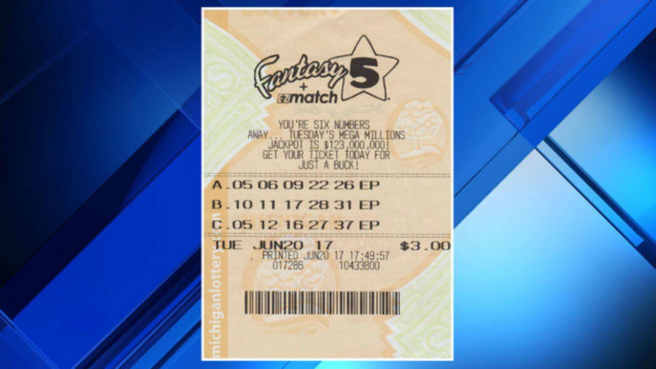 Fantasy 5 winning lottery ticket